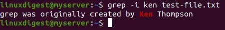 grep -i ken test-file.txt