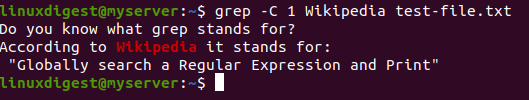 grep -C 1 Wikipedia test-file.txt