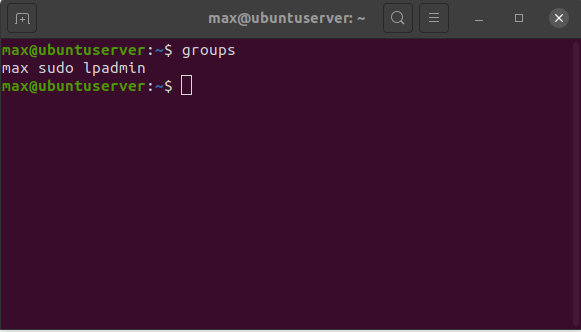 List all groups that the current user belongs to using the groups command.